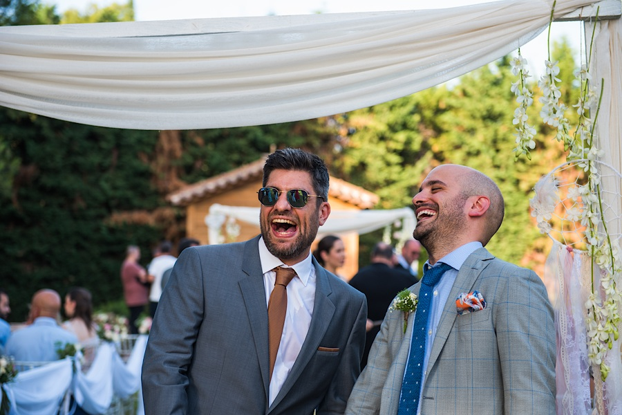 032 Destination wedding in greece athens at riviera estate bride groom first kiss ceremony photography - An elegant wedding in Athens