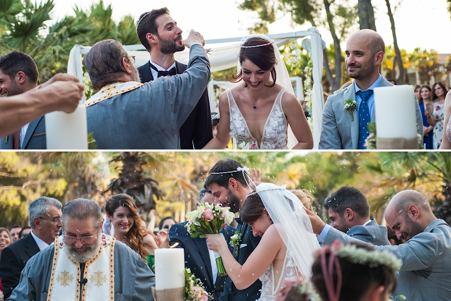 041 Destination wedding in greece athens at riviera estate bride groom first kiss ceremony photography - An elegant wedding in Athens