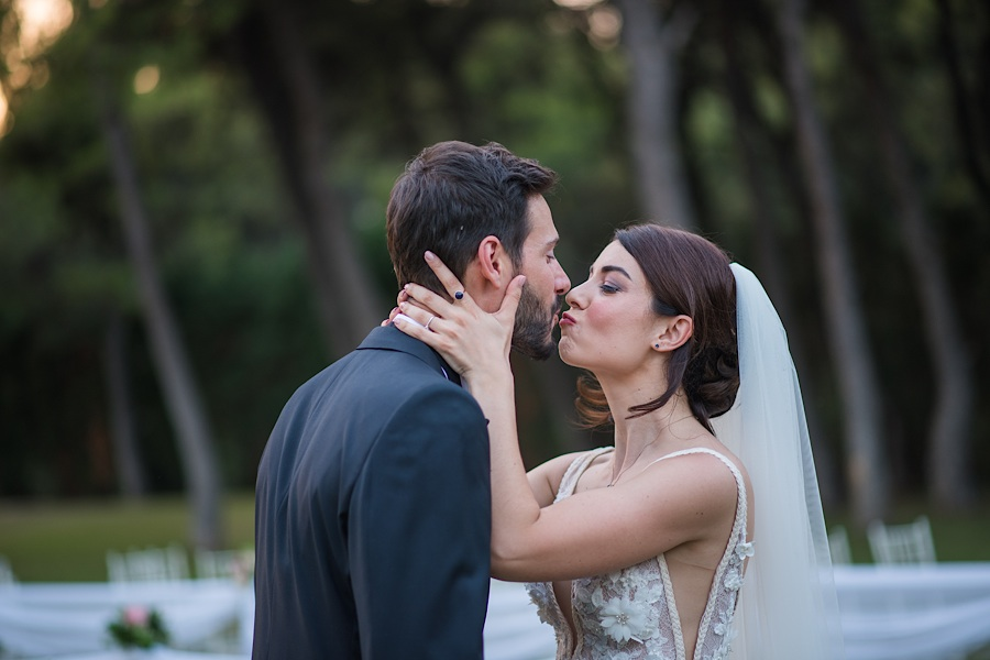 046 Destination wedding in greece athens at riviera estate bride groom first kiss ceremony photography - An elegant wedding in Athens